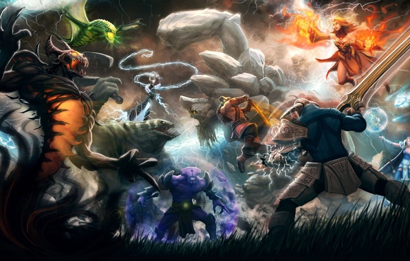 Picture weapons, magic, monsters, battle, heroes, WarCraft, dota2