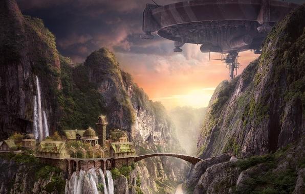 Picture sunset, bridge, castle, rocks, ship, waterfall, art, AkimFimin