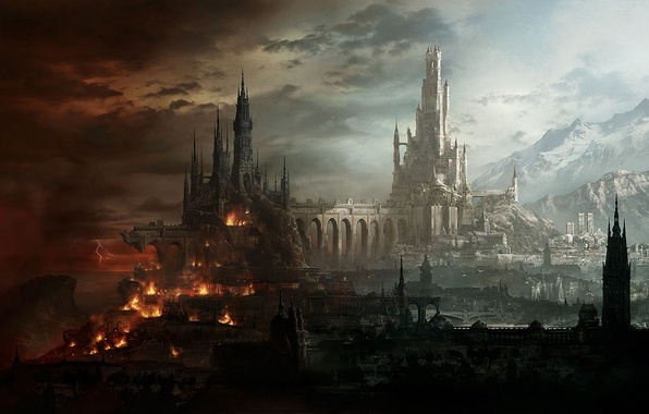 Picture light, mountains, bridge, the city, castle, fire, zipper, fantasy, art, destruction
