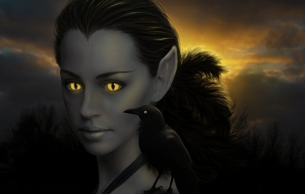 Picture girl, bird, feathers, art, ears, Raven, vertical pupils