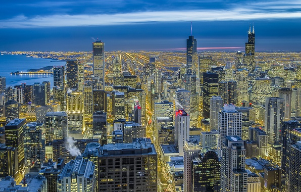 Picture the sky, light, night, the city, blue, view, building, height, home, skyscrapers, lighting, Chicago, panorama, …