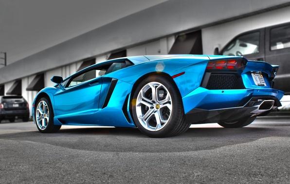 Picture blue, shadow, lamborghini, Blik, rear view, aventador, lp700-4, Lamborghini, aventador, Azure Blue