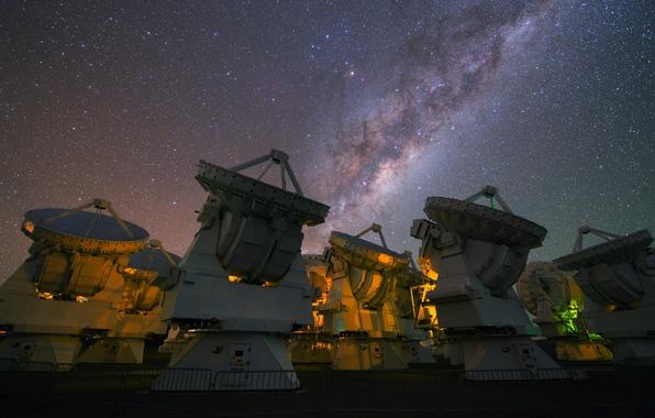 Picture the sky, stars, The milky way, radio telescope