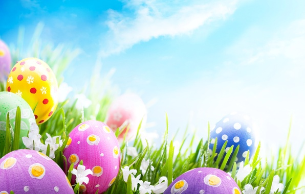 Picture photo, The sky, Grass, Easter, Eggs, Holiday