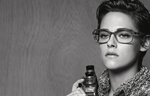 Picture look, actress, glasses, hairstyle, photographer, black and white, Kristen Stewart, Kristen Stewart, photoshoot, brand, camcorder, …