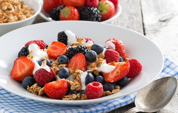 Picture raspberry, Breakfast, blueberries, strawberry, BlackBerry, cereal, yogurt