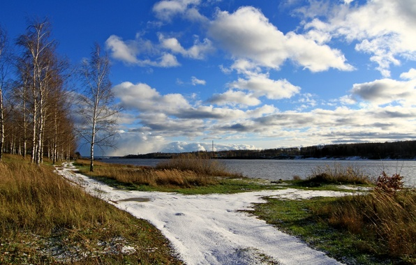 Picture the sky, grass, clouds, snow, river, spring, birch, Volga