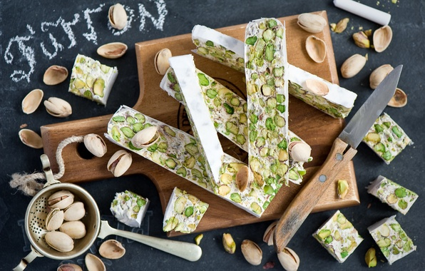 Picture knife, sweets, Board, nuts, dessert, pistachios, Anna Verdina, nougat, the bakeries