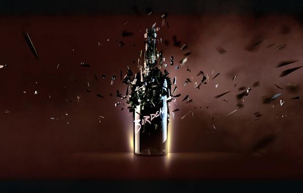 Picture light, fragments, reflection, bottle