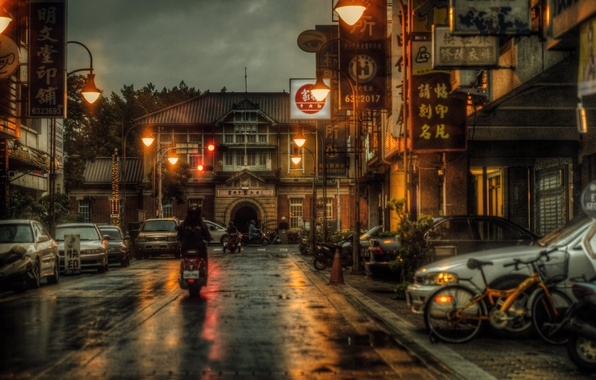 Picture night, bike, street, motorcycle, Taiwan, cars, stores, life, lamppost, restaurants, rainy, Yunlin
