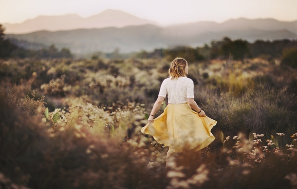Photo wallpaper field, grass, girl, back, skirt, blouse