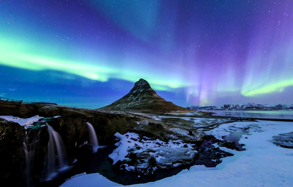 Photo wallpaper stars, the sky, Iceland, night, lake, Northern lights, waterfall, winter, snow, Kirkjufell, mountain