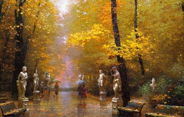 Picture autumn, Park, people, rain, track, umbrellas, benches, sculpture, fallen leaves