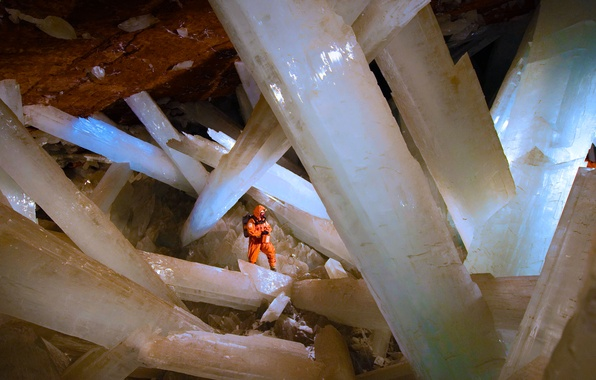 Picture Mexico, crystals, caver, Selenite, Nike, The crystal cave