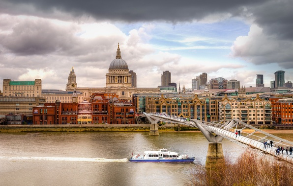 Picture autumn, the sky, clouds, bridge, river, people, home, London, the dome, Thames