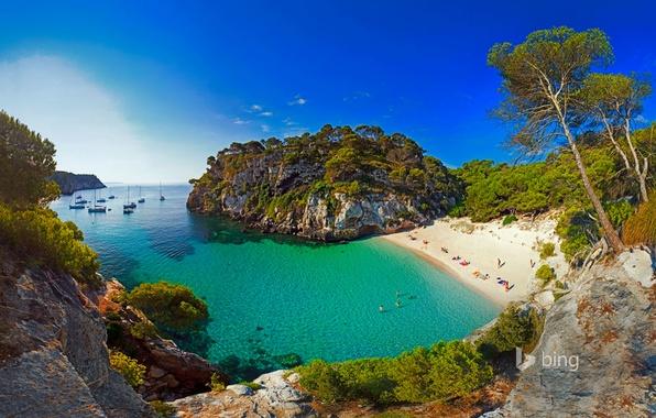 Picture sea, beach, rocks, Bay, yachts, boats, Spain, Menorca, Macarelleta
