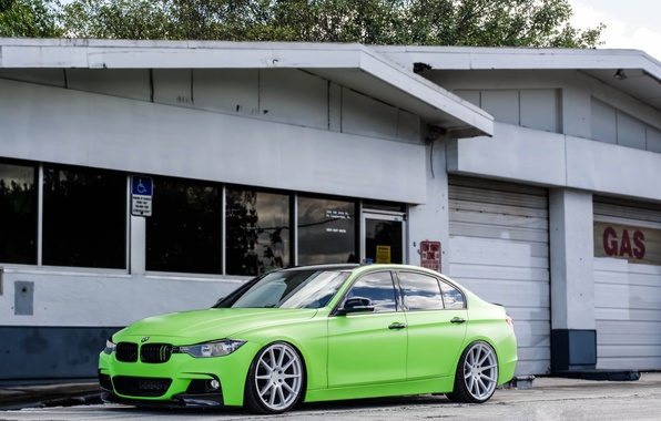 Picture BMW, BMW, Green, Tuning, F30, 330d, Matte Green