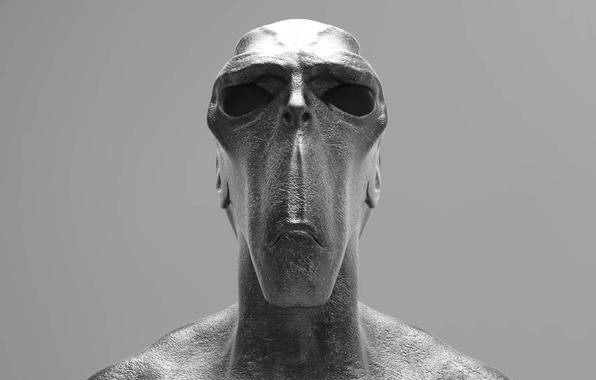 Picture statue, sculpture, alien head, humanoid