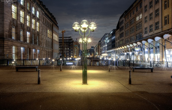 Picture night, lights, home, Germany, lights, channel, bridges, Hamburg, benches