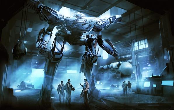 Picture weapons, people, fiction, robot, art, hangar, pilot