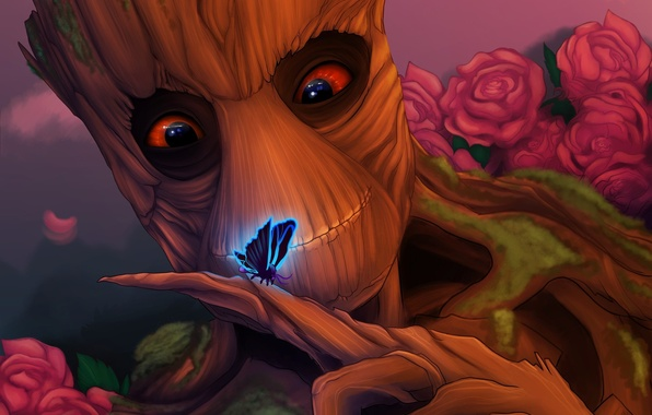 Picture look, tree, butterfly, Groot, guardians of the galaxy, good-natured