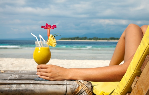 Photo Wallpaper Woman Beach Drinking