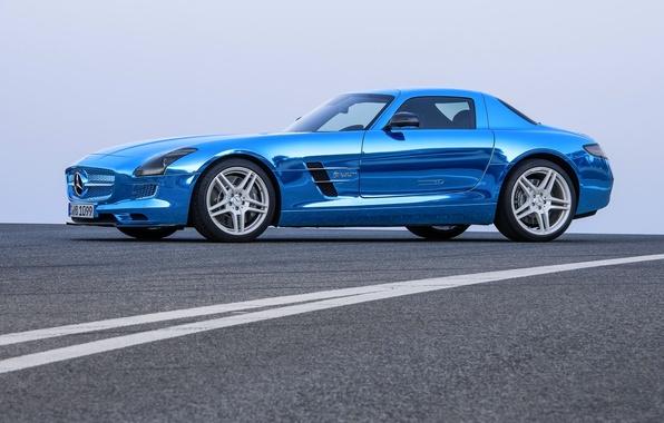 Picture Mercedes-Benz, Blue, Mercedes, Asphalt, Car, AMG, Coupe, SLS, Chrome, Side view