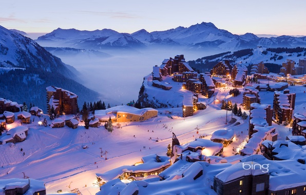 Picture winter, the sky, snow, mountains, lights, home, town, resort