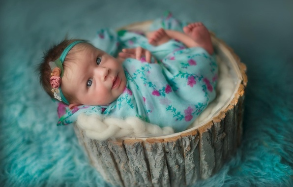 Picture look, girl, fabric, fur, bark, child, baby