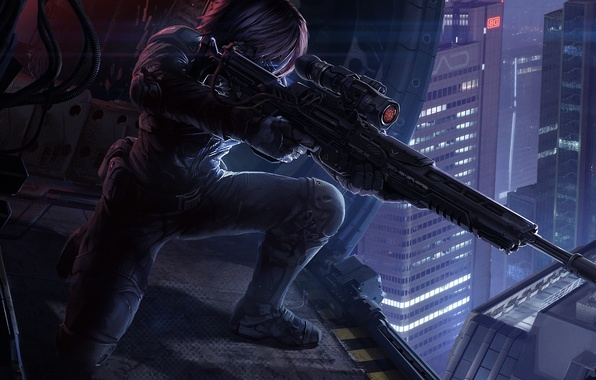 Picture night, fiction, helicopter, sniper, cyborg, cyberpunk, sniper rifle