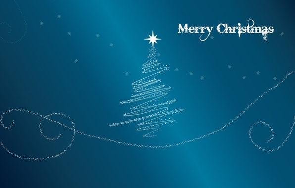 Picture blue, background, holiday, blue, star, tree, new year, merry christmas