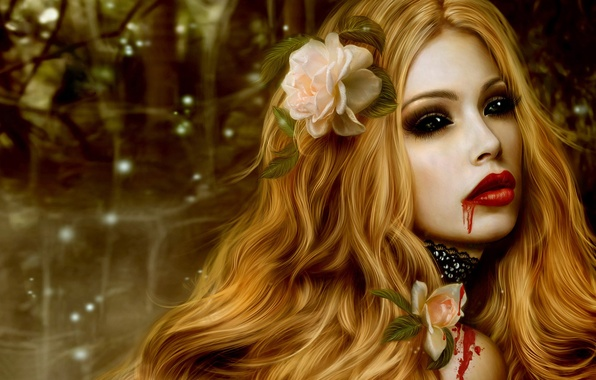 Picture flower, girl, blood