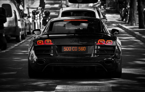 Picture trees, machine, Audi, Audi, street, black, light, black, cars, tree, street, back