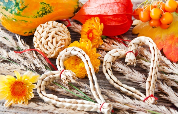 Picture autumn, leaves, decoration, flowers, heart, spikelets, hearts, pumpkin, straw, ears, vegetables, chrysanthemum
