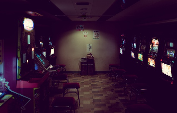 Picture light, game, garbage, neon, room, chair, arcade