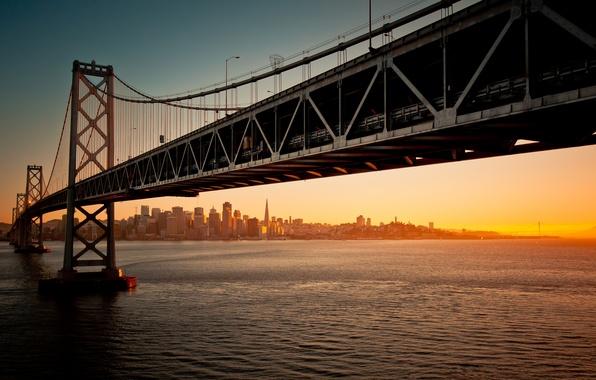 Picture water, sunset, bridge, the evening, california, CA, san francisco, San Francisco