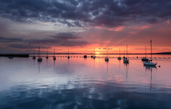 Picture the sky, clouds, sunset, orange, reflection, England, yachts, the evening, horizon, Bay, UK, calm, grey, ...
