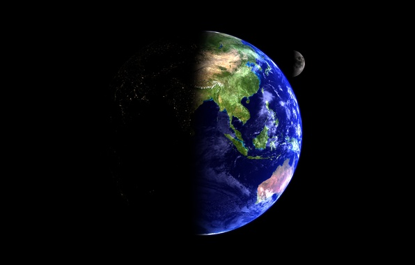 Picture space, earth, the moon, planet, satellite, beauty