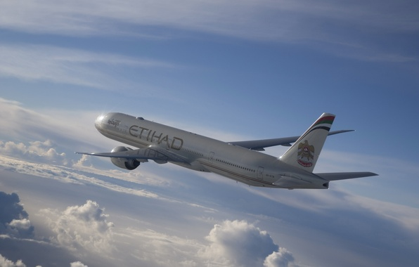 Picture The sky, Clouds, Liner, Flight, The plane, Passenger, Airbus, Jet, A330, Etihad, Airways, Widebody, Airbus