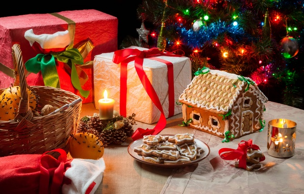 Picture oranges, candles, cookies, Christmas, gifts, basket, gingerbread house