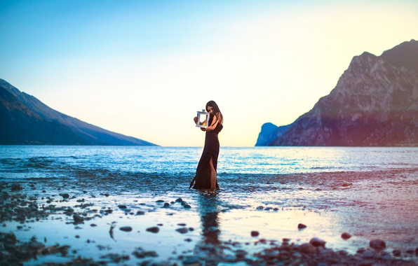 Picture girl, mountains, lake, rocks, candle