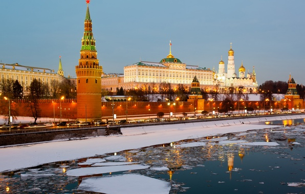 Picture ice, winter, city, river, Moscow, The Kremlin, Russia, Russia, Moscow, Kremlin