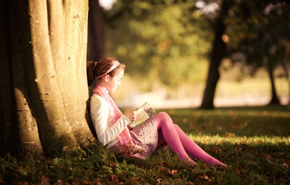 Picture trees, nature, Park, girl, book, privacy