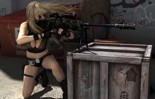 Picture girl, face, pose, weapons, hair, glasses, blonde, gloves, box, sniper rifle