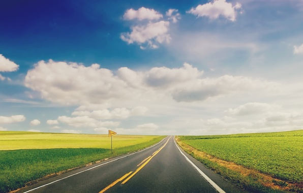 Picture road, greens, grass, landscape, nature, background, widescreen, Wallpaper, plate, track, horizon, wallpaper, widescreen, background, the …