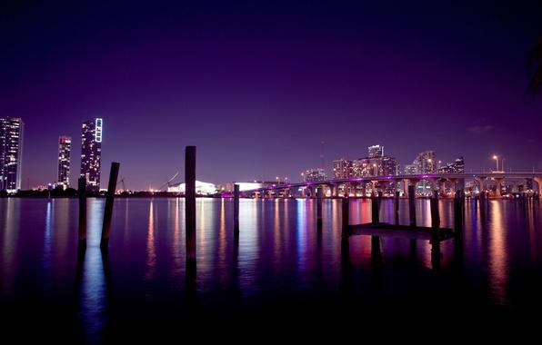 Picture the sky, night, bridge, the city, building, home, America, USA, Miami, miami