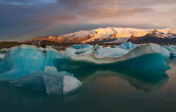Picture snow, mountains, Bay, Iceland, icebergs