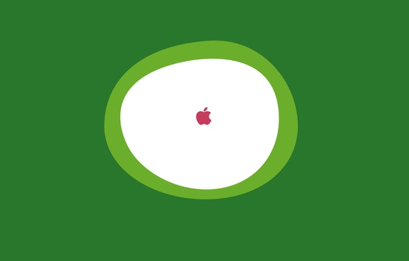 Picture white, green, background, icon, apple, Apple, round, minimalism, logo, oval