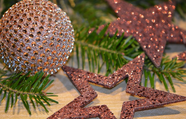 Picture branches, holiday, toys, Shine, Christmas, stars, ball