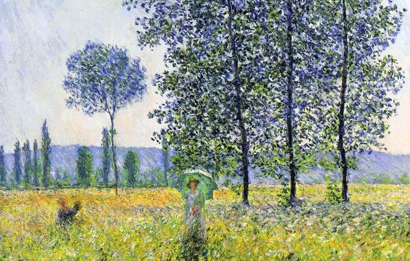 Wallpaper Trees Landscape Picture Meadow Poplar Claude Monet Sunlight Effect Under The Poplars Images For Desktop Section Zhivopis Download